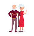couple of cute elderly standing together vector image vector image
