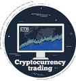 cryptocurrency trading concept in line art style vector image vector image
