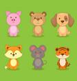 cute character animal set vector image vector image