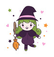 cute witch girl with fly broom vector image vector image