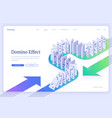 domino effect isometric landing business concept vector image