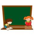 doodle girl on blackboard vector image vector image