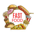 fast food round sketch banner combo meals vector image