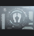 futuristic dashboard with foot prints vector image vector image