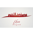 ghent skyline in red vector image vector image