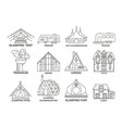 glamping accomodation line icon vector image