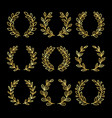 gold linear wreath set vector image vector image