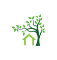 green tree house logo vector image
