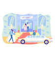 happy just married newlyweds sit in limousine car vector image vector image