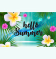 hello summer natural floral background with frame vector image