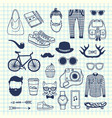 hipster doodle icons on cell sheet vector image