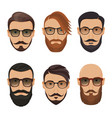 hipster face on a white background bearded man vector image vector image