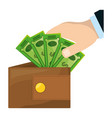 isolated hand taking money vector image vector image