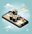 isometric city christmas and new year food vector image vector image