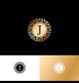 j gold letter monogram gold circle lace ornament vector image vector image
