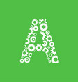 letter a with gear on green background vector image vector image