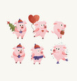 new year 2019 set with christmas flat pink pigs vector image vector image