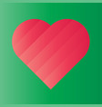 pink heart of gradient stripes on green background vector image vector image