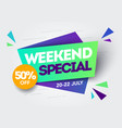 retro weekend special sale banner template vector image