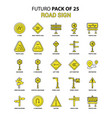road sign icon set yellow futuro latest design vector image