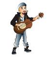 rockstar playing guitar and smoking cigarette vector image