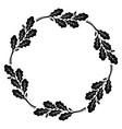 round frame oak leaves vintage design vector image