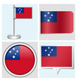 Samoa flag - sticker button label flagstaff vector image vector image