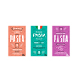 Set of templates label for pasta vector image vector image