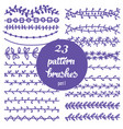 set patterned floral brush vector image vector image