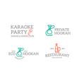 set retro vintage night club karaoke disco vector image
