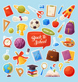 set school items stickers cartoon objects and vector image vector image