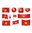set vietnam flags banners banners symbols flat vector image vector image