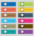 shield icon sign Set of twelve rectangular vector image