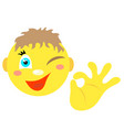 smiley boy with a gesture ok vector image vector image