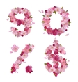 Spring font from cherry flowers figures and signs vector image vector image
