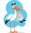 stork carrying a cute baboy in a bag vector image