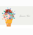 summer scene with ice cream cone sundae with vector image