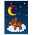 The teddy bear sleep on the moon vector image