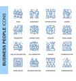 thin line business people related icons set vector image