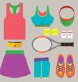 Top View Tennis Women Gears vector image vector image
