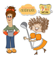 two funny cooks items set isolated on white vector image vector image