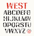 Uppercase stencil plate sans serif font vector image vector image
