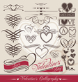 Valentines day calligraphic elements vector image