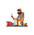 welder sets up welding machine vector image