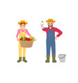 woman and man with products vector image