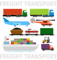 transport vehicles plane and train truck with vector image