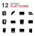 12 literature icons vector image vector image