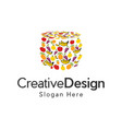 basket fruit vegetable creative naturally logo vector image vector image