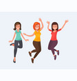 beautiful girls jump with happiness vector image