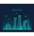 Beijing skyline trendy linear vector image vector image